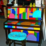 Painted Spinet Upright Piano by Kathleen Henner